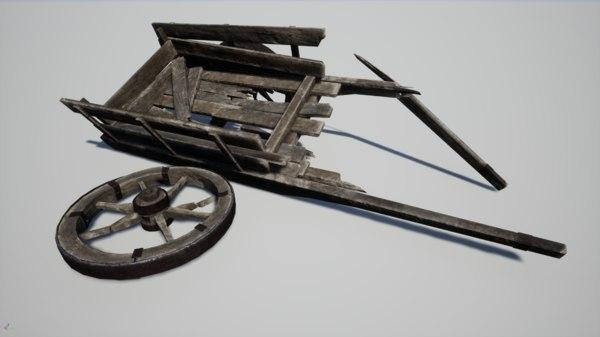 medieval broken cart 3D