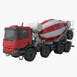 red concrete mixer truck 3D model