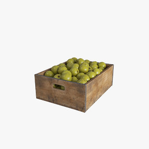 fruit greenapple crate 3D model