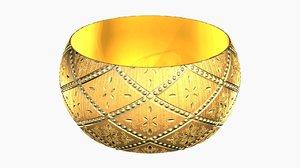 3D gold bracelet