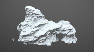 3D realistic snow arch rock