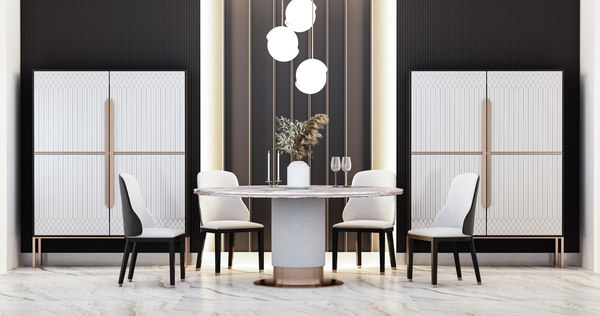 modern dining tables chairs 3D