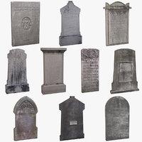 13 tomb stones tombstones c4d