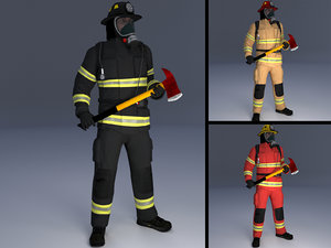 3D model rigged firefighter