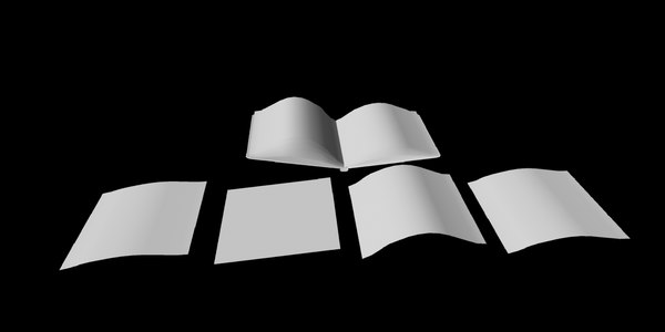 3D model open book paper