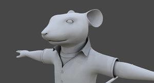 stuart little rat cartoon 3D model