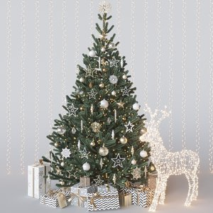 3D merry christmas tree gold
