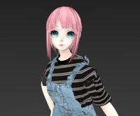 pink hair 3D model