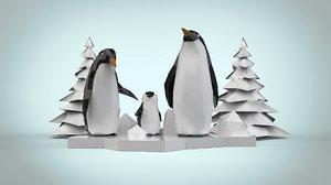 3D low-poly penguins family model
