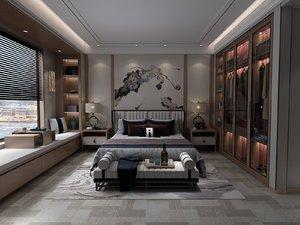3D interior bedroom big bed