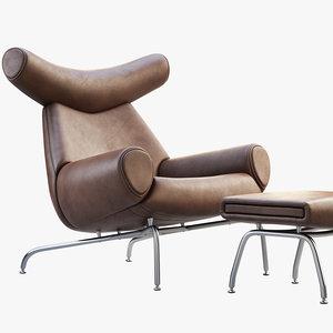 ox chair ottoman 3D