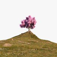 3D hill tree meadow grasses