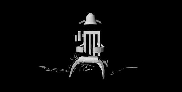 futuristic chair untextured 3D model