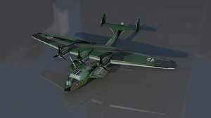 3D dornier 24 military aircraft model