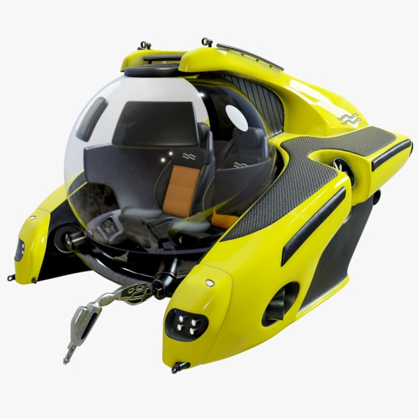 3D underwater mini u-boat c-researcher model