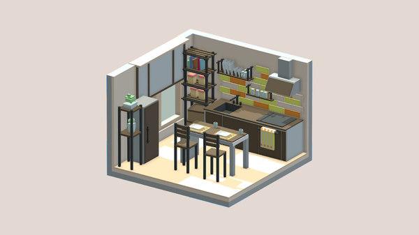 art cartoon room 3D model