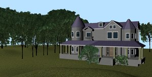 3D realistic mansion model