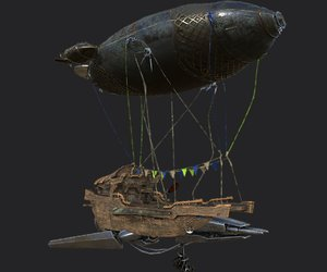 3D airship steampunk modeled
