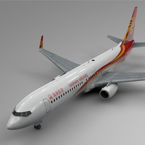 3D hainan airlines boeing 737-800 model