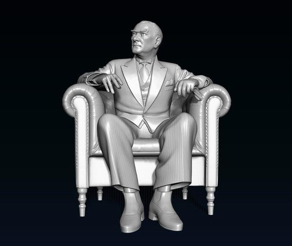 3D model statue hero father