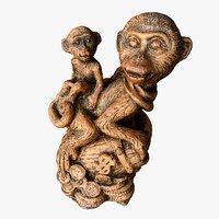 3D model scanned statuette monkeys