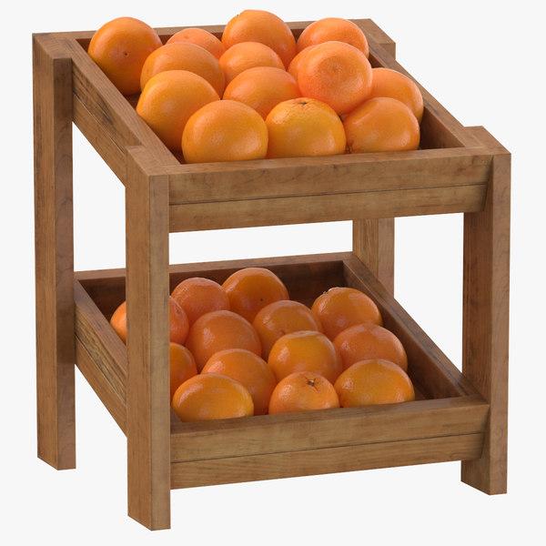 wooden merchandise shelf 02 3D model