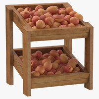 3D model wooden merchandise shelf 02