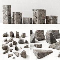 Stone cube part decor n1