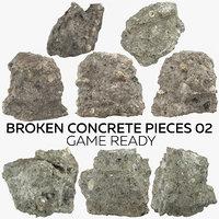 3D broken concrete pieces 02 model