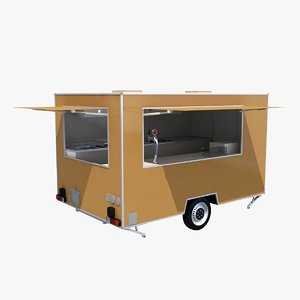 3D model catering single axle trailer