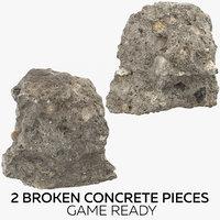 2 broken concrete pieces 3D model