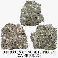 3 broken concrete pieces model