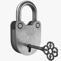 real padlock 3D model