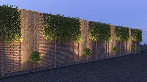 brick fence 3D
