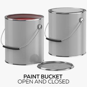 paint bucket open closed 3D