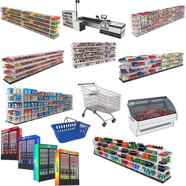 big supermarket shopping cart model