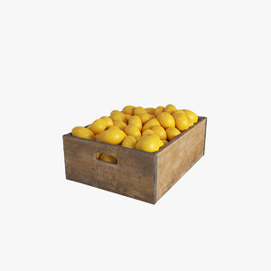 3D model vegetables lemon crate
