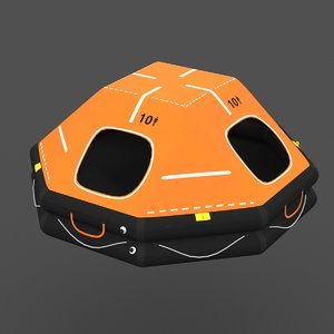 3D life raft 10 person