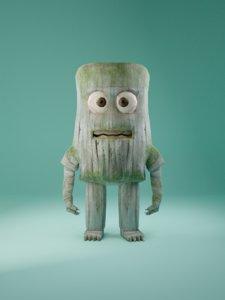 3D blender wood man animation