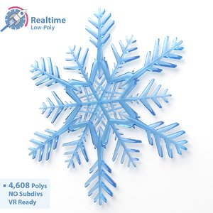 3d engines low-poly snowflake