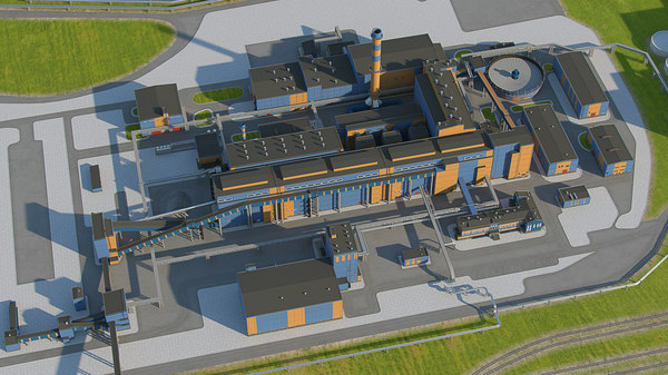 3D factory industrial facilities model