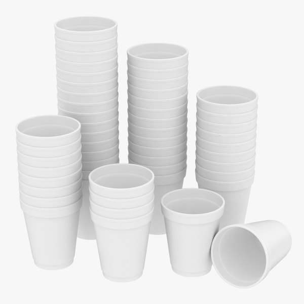 realistic styrofoam cups pose 3D model