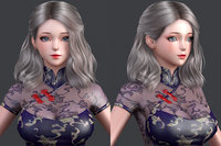 polygon hair 02 3D model