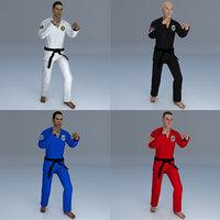 pack rigged jiu jitsu 3D model