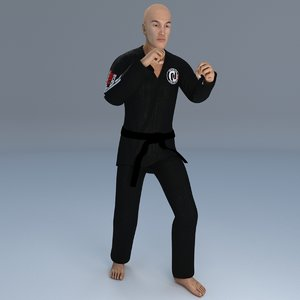 rigged jiu jitsu martial 3D model