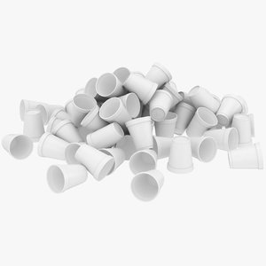 realistic styrofoam cup pile 3D model