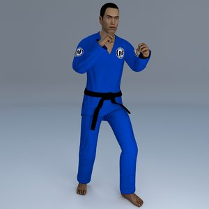 3D rigged jiu jitsu martial model
