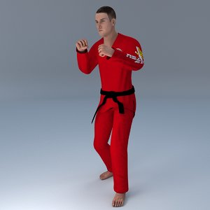 3D rigged jiu jitsu martial