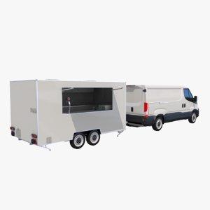 3D catering trailer van model