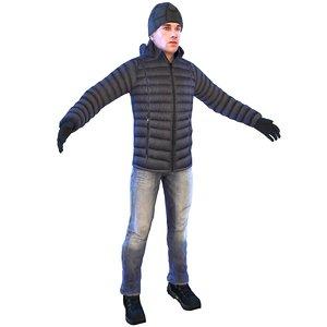 man winter cap 3D model